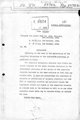Argentine declaration concerning European territories made at the first meeting of Ministers of Foreign Affairs of the American Republics, Panama