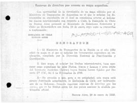 Chilean note to Argentina reserving Chilean rights in connection with an Argentine map depicting Chilean territory as part of Argentina, and Argentina's response