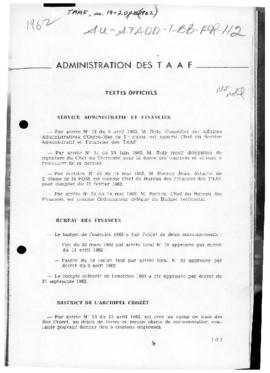 France, Administration of TAAF; and Orders concerning  administrative arrangements for French Sou...