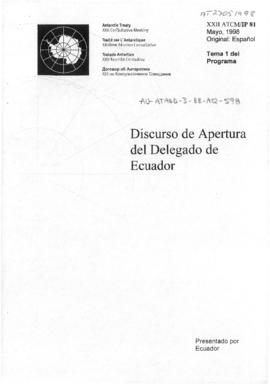 "Twenty-second Antarctic Treaty Consultative Meeting (Tromsø) Information paper 81 ""Discurso ..."