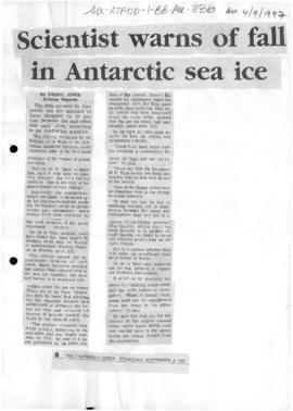 "Jones, Cheryl ""Scientists warns of fall in Antarctic sea ice"""