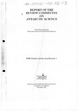 New Zealand, Report of the Review Committee on Antarctic Science