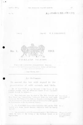 Falkland Islands, Wild Animals and Bird  Protection Amendment Ordinance, no 1 of 1913