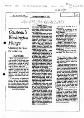 "The Washington Post ""Cousteau's Washington Plunge"" Phil McCombs, and related articles"