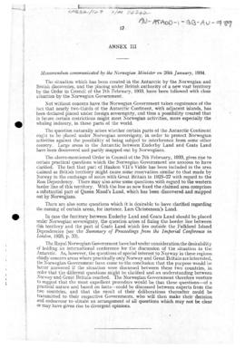 Norwegian memorandum to the United Kingdom concerning the Order in Council establishing the Australian Antarctic Territory