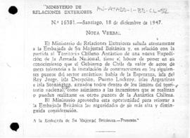 Chilean note to the United Kingdom concerning British bases in the Chilean Antarctic Territory