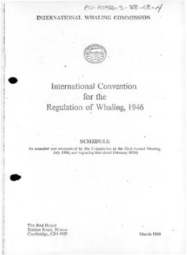Schedule to the International Convention for the regulation of whaling