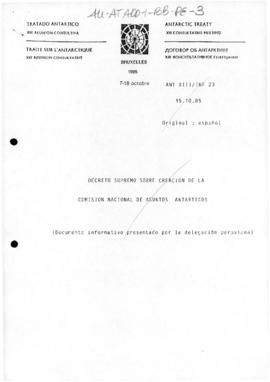 Peru, Supreme Decree No 9-83-RE concerning the creation of the National Antarctic Commission (pub...