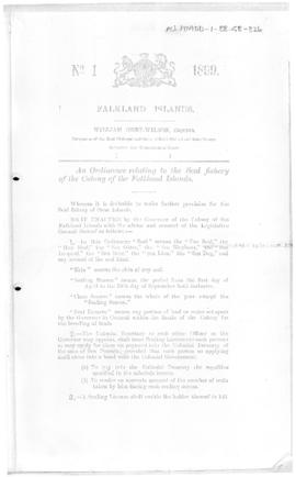 Falkland Islands, Seal Fishery Ordinance, no 1 of 1899, includes a list of other ordinances.