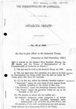 Australia, Antarctic Treaty Act 1960