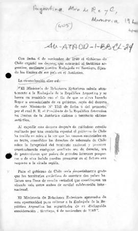 Chilean note to Argentina communicating the Chilean decree of 6 November 1940