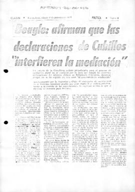 Argentine press article concerning the Beagle Channel dispute