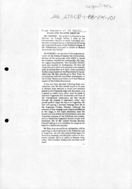 "Australia, Parliamentary debates, Senate Hansard, ""Falkland Islands dispute""; and House of representatives 5 May 1982"