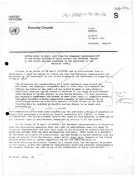 British note to the United Nations Security Council replying to the Argentine assertion that the United Kingdom is not permitted to rely upon the right of self-defence with regard to the Falkland (Malvinas) Islands, South Georgia Islands and the South Sandwich Islands (S/15016)