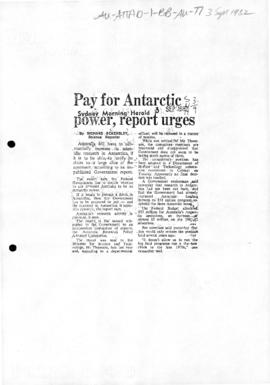 "Eckersley, Richard ""Pay for Antarctic power, report urges"" Sydney Morning Herald3/09/1982"