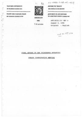 "Thirteenth Antarctic Treaty Consultative Meeting (Brussels) Meeting paper 19 Revision 4 ""Fin..."