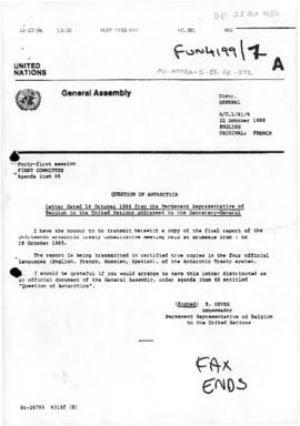 "United Nations General Assembly, Forty-first session, First Committee, ""Letter dated 16 October 1986 from the Permanent Representative of Belgium"" (A/C.1/41/6)"