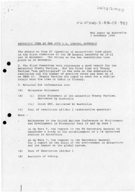 United Nations General Assembly Forty-fifth session, Non paper by Australia reporting on the Anta...