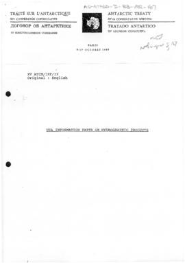 "Fifteenth Antarctic Treaty Consultative Meeting, Paris, Information paper 39 ""USA informatio..."