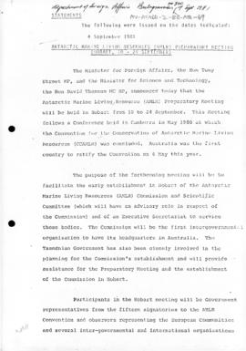 Australia, Ministerial statement on the Antarctic Marine Living Resources Preparatory Meeting, Hobart 1981