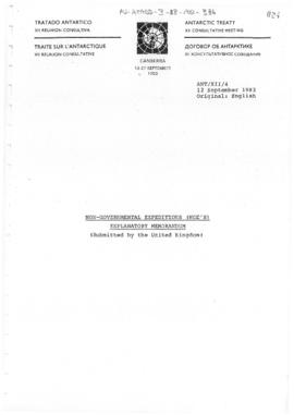 "Twelfth Antarctic Treaty Consultative Meeting (Canberra) Working paper 4 ""Non-governmental e..."