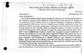Chilean note-verbale to the United Kingdom protesting at British actions to remove a Chilean building from Deception Island, South Shetland Islands