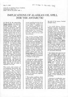 "Antarctic and Southern Ocean Coalition, ""Implications of Alaskan oil spill for the Antarctic"" ASOC Information Paper No 1. (PREP ATCM XV/ASOC INF.1)"