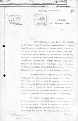 Admiralty letter to the Foreign Office rejecting possible grounds for the claims of Argentina to ...