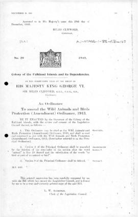 Falkland Islands Dependencies, Wild Animals and Birds Protection Ordinance, no 29 of 1949