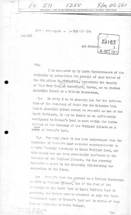 United Kingdom, Letter of from the Admiralty to the Colonial Office concerning British title to J...