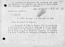 Chilean note to Argentina giving further details of the bases of Chilean claims and inviting Argentine authorities to take part in discussions in Santiago de Chile