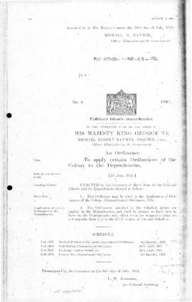 Falkland Islands Dependencies, Application of Ordinances of the Colony to the Dependencies Ordinance, no 4 of 1951