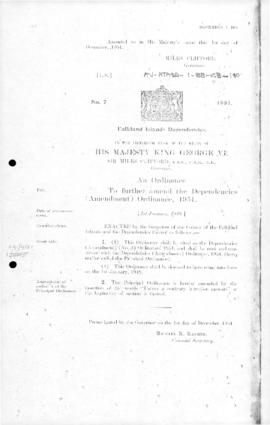Falkland Islands Dependencies (Amendment) Ordinance, no 7 of 1951