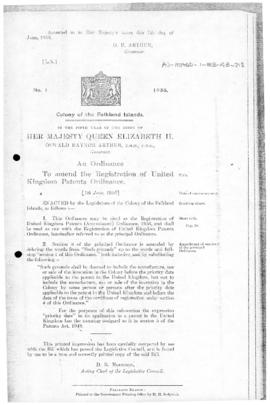 Falkland Islands, Registration of United Kingdom Patents (Amendment) Ordinance, no 1 of 1956