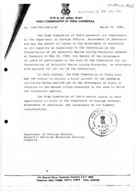 India, note to Australia concerning Korea's accession to the Convention on the Conservation of Antarctic Marine Living Resources. Includes revised Indian note of 1986-04-18.