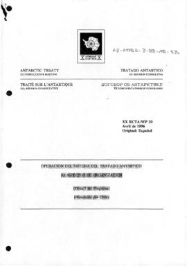 "Twentieth Antarctic Treaty Consultative Meeting (Utrecht) Working paper 20 ""Operacion del Si..."