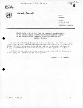 United Nations Security Council, correspondence and debates concerning military activities at the Falkland Islands/Malvinas