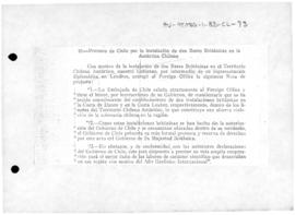 Chilean note to the United Kingdom protesting at the establishment of two British bases within the Chilean Antarctic Territory