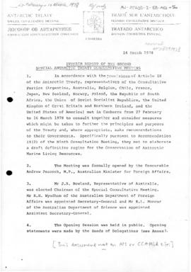 Interim report of the Second Antarctic Treaty Consultative Meeting, Canberra 1978