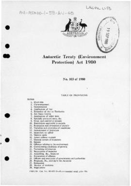 Australia, Antarctic Treaty (Environment Protection) Act 1980