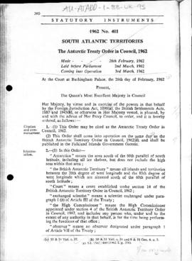 United Kingdom, Antarctic Treaty Order, 1962