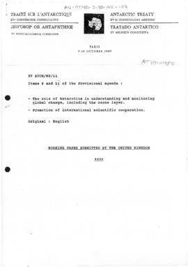 "Fifteenth Antarctic Treaty Consultative Meeting, Paris, Working paper 11 ""The role of Antarc..."