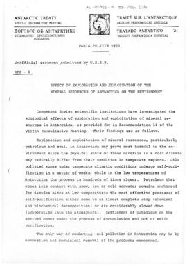 "Special Preparatory Meeting for the Ninth Antarctic Treaty Consultative Meeting (Paris) meeting paper 6 ""Effect of exploration and exploitation of the mineral resources of Antarctica on the environment"" (RPS-6) (USSR)"