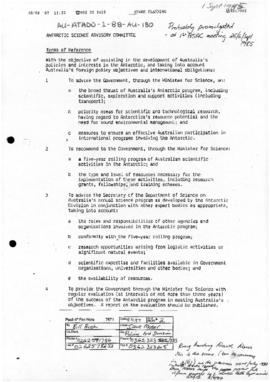 Terms of reference of the Antarctic Science Advisory Committee