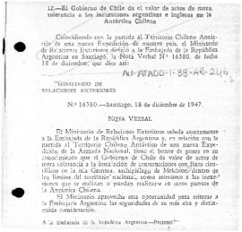 Chilean note to Argentina concerning Argentine bases and other activities in Chilean Antarctic Territory