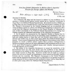 British note to Argentina protesting at the establishment of Argentine stations and other facilit...