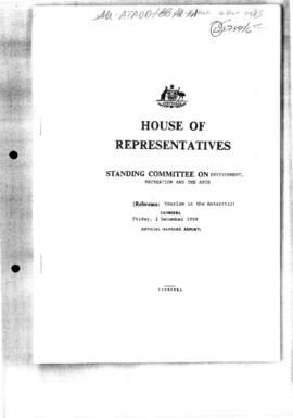 "Australia House of Representatives Standing Committee Hansard ""Tourism in the Antarctic"""