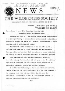 The Wilderness Society, press release concerning United States Antarctic environment policy