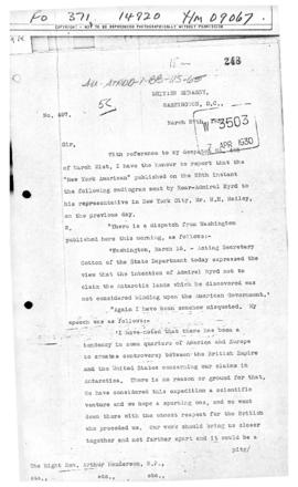 British note concerning intentions of Admiral Byrd