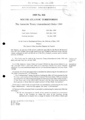 United Kingdom, South Atlantic Territories, Antarctic Treaty (Amendment) Order, no 841 of 1989